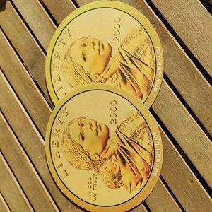2 pic VGT 2000 Sacagawea golden dollar coin mousepad Us mint